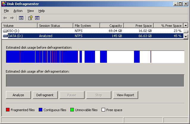 Apge defrag z Windows 2003 server